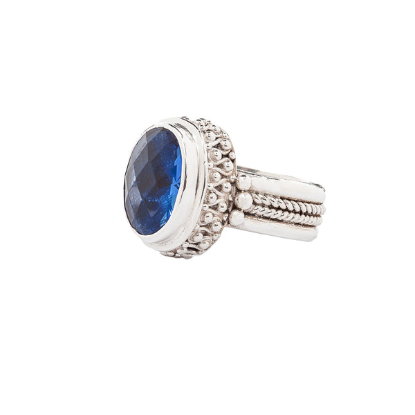 Handcrafted Sterling Silver Ring Bali Style with Blue Quartz