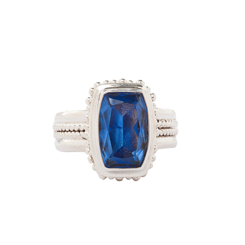 Blue Quartz Handcrafted Bali Style Sterling Silver Ring