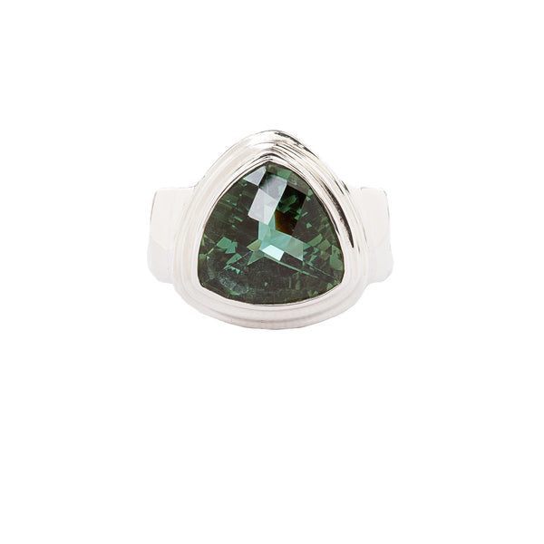 Trillion Green Quartz Sterling Silver Ring