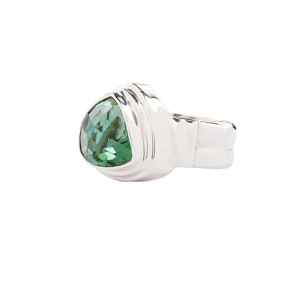 Double Step Bezel Green Trillion Quartz Sterling Silver Ring