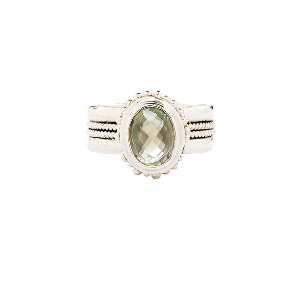 Handcrafted Sterling Silver Ring with Green Prehnite