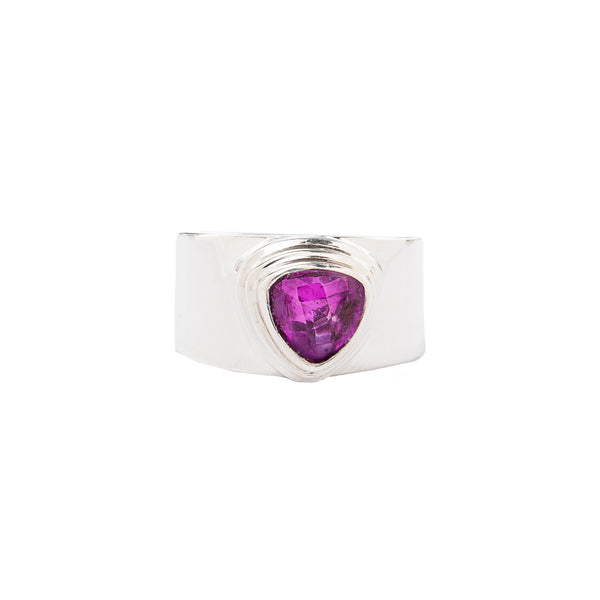 Trillion Rose Corundum Wide Band Sterling Silver Ring