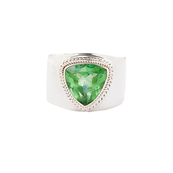 Green Trillion Quartz Handcrafted Wide Sterling Silver Ring
