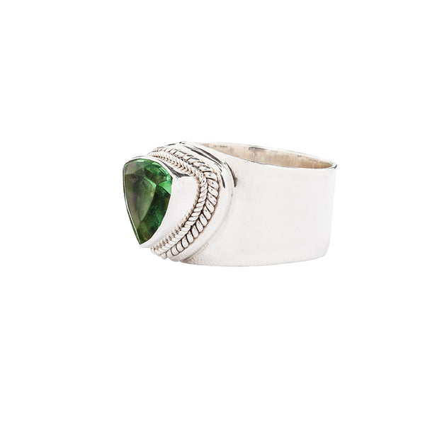 Wide Band Sterling Silver Ring with Green Trillion Quartz