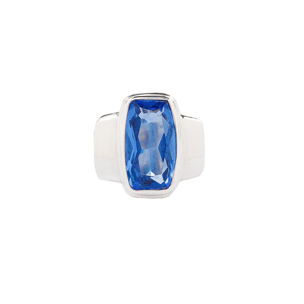 Blue Rectangle Quartz Sterling Silver Ring