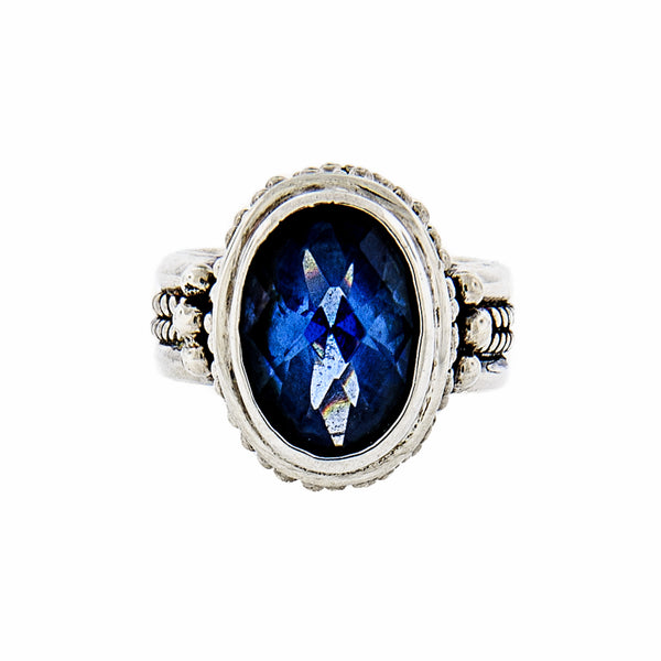 Bali Style Blue Quartz Handcrafted Sterling Silver Ring