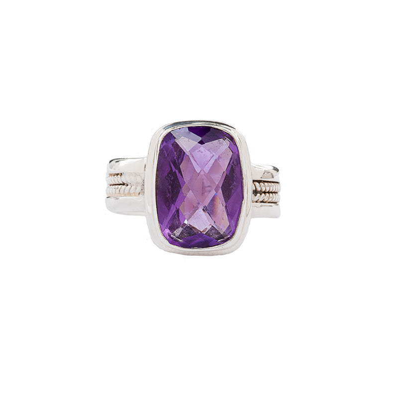 Purple Amethyst Sterling Silver Ring
