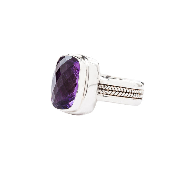 Handcrafted Sterling Silver Ring with Purple Amethyst