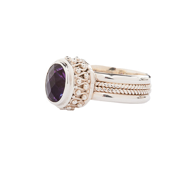 Purple Alexandrite and Handcrafted Sterling Silver Ring