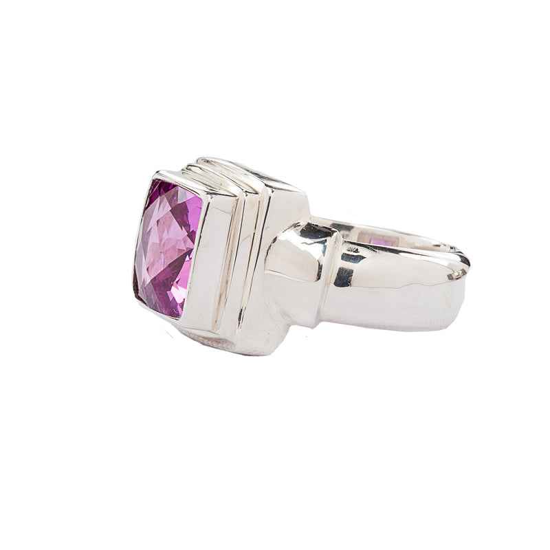 Electric Pink Square Rose Corundum Sterling Silver Ring