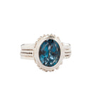 Blue Spinel Handcrafted Bali Style Sterling Silver Ring