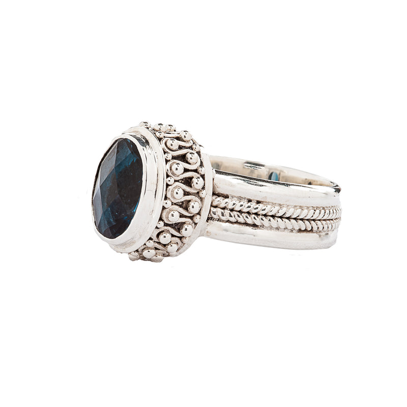 Bali Style Sterling Silver Ring with Faceted Blue Spinel