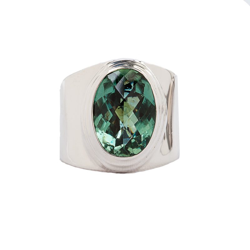 Green Quartz Wide Band Sterling Silver Ring