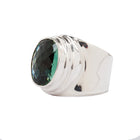 Wide Sterling SIlver Ring with Oval Green Quartz