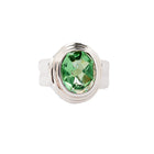 Green Quartz Sterling Silver Ring Step Bevel