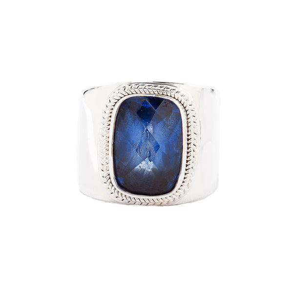 Cushion Blue Quartz Wide Band Sterling Silver Ring