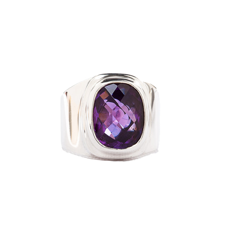 Amethyst Wide Band Sterling Silver Ring