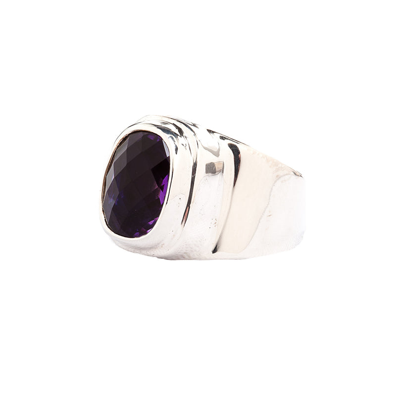Wide Band Sterling Silver Ring with Faceted Amethyst