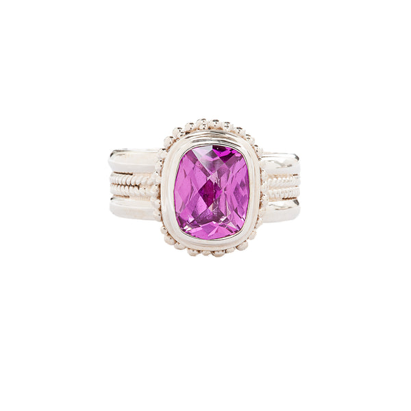 Rose Corundum Sterling Silver Ring