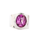 Wide Band Silver Ring with Oval Rose Corundum