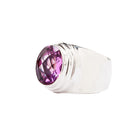 Oval Rose Corundum Sterling Silver Wide Band Ring