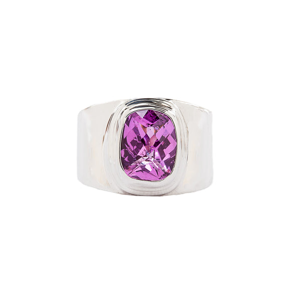Wide Band Sterling Silver Ring with Fuchsia Faceted Rose Corundum