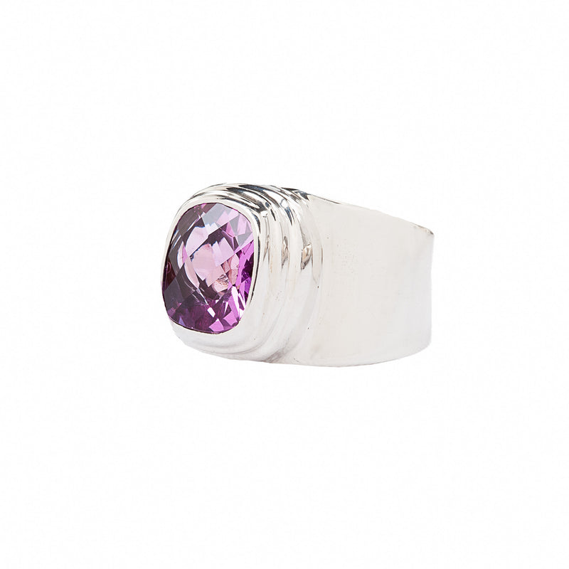 Fuchsia Faceted Rose Corundum Sterling Silver Ring