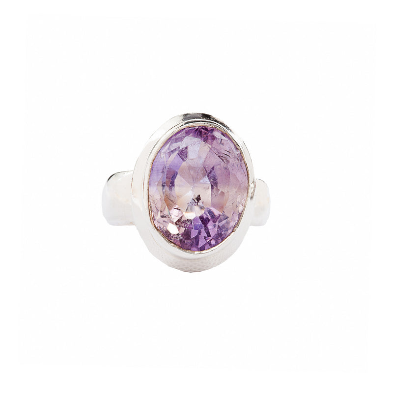 Faceted Ametrine Sterling Silver Ring