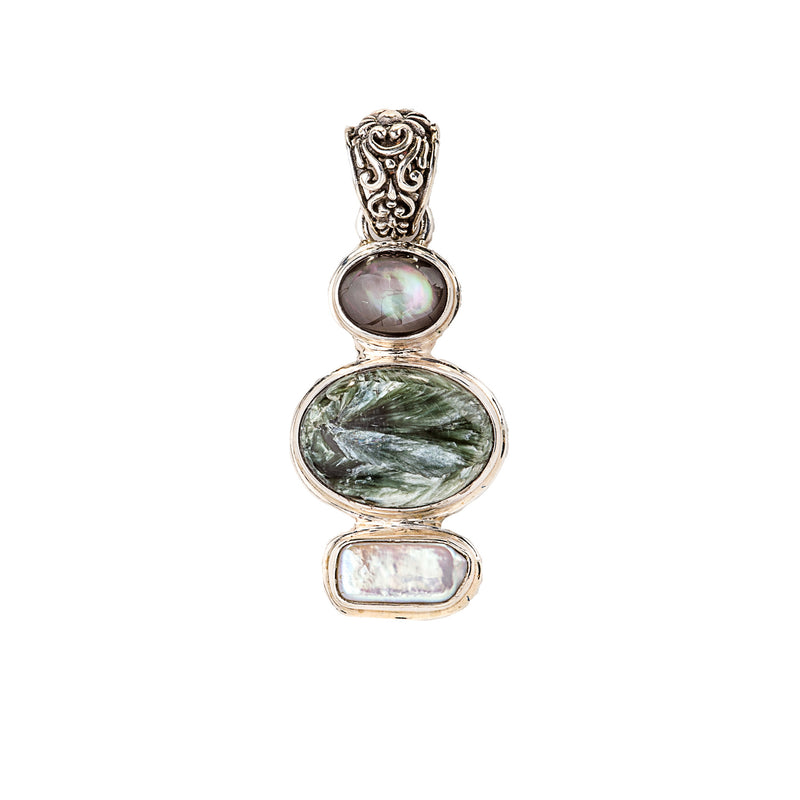 Grey Chrysoberyl Catseye, Seraphinite, Mother of Pearl Pendant