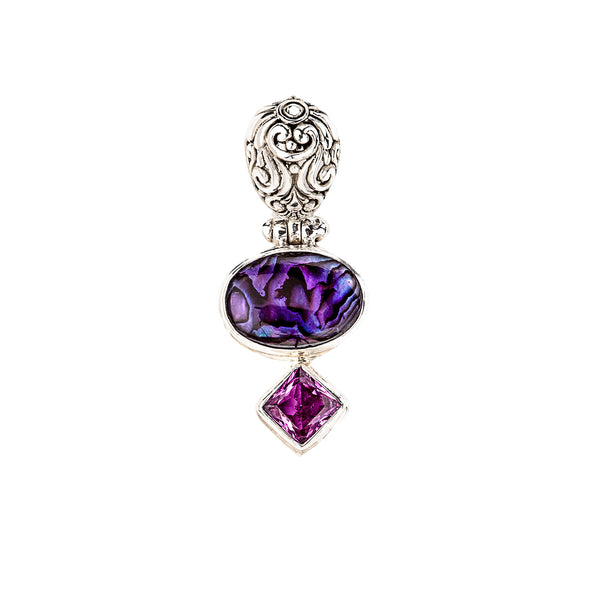 Purple Abalone and Pink Quartz Pendant set in Designer Sterling Silver