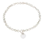 Sterling Silver Heart Front Toggle Chain Necklace