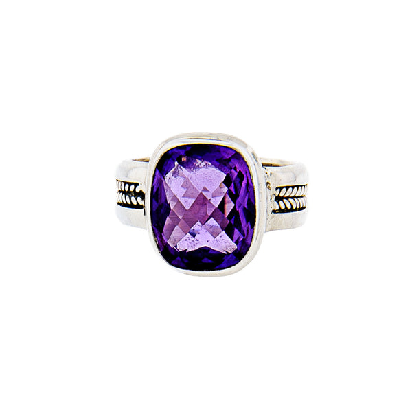 Cushion Amethyst Handcrafted Sterling Silver Ring