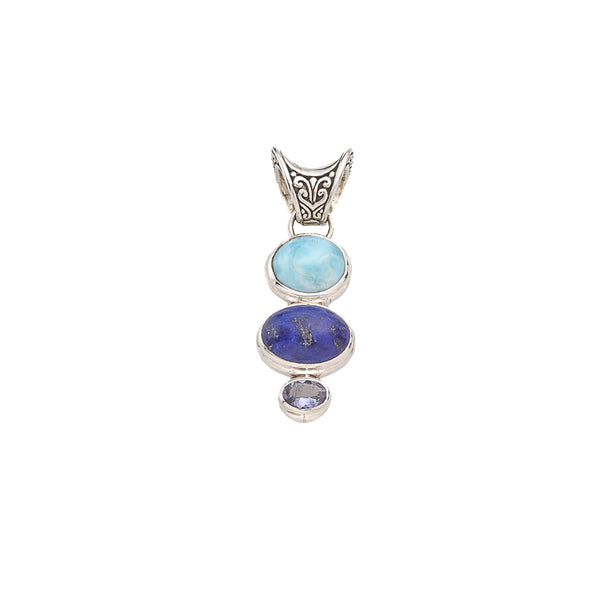 Larimar, Lapis, Iolite Sterling Silver Pendant with Saddle Bail