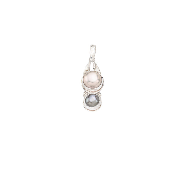 Elegant Two Pearl Pendant set in Sterling Silver