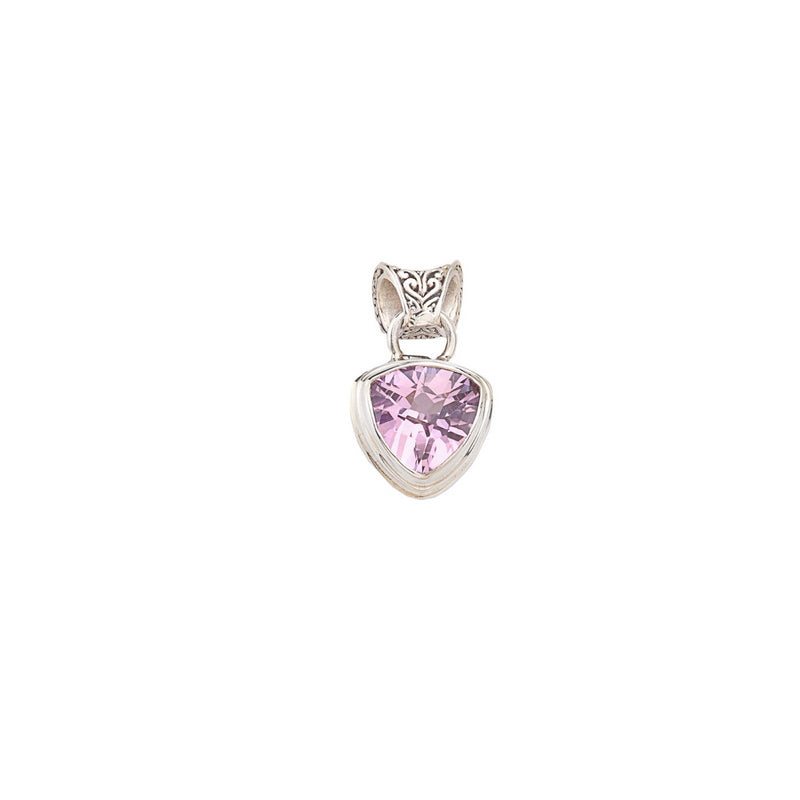 Faceted Trillion Pink Quartz Pendant