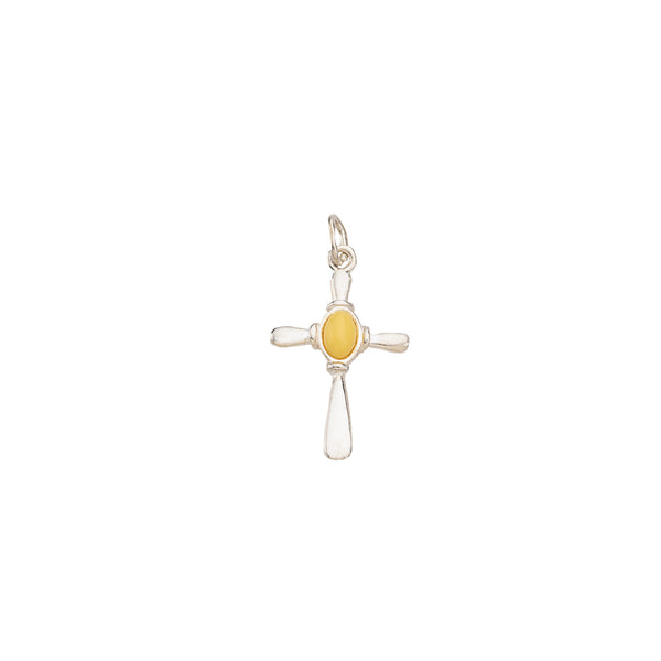 Amber Cross sterling SIlver