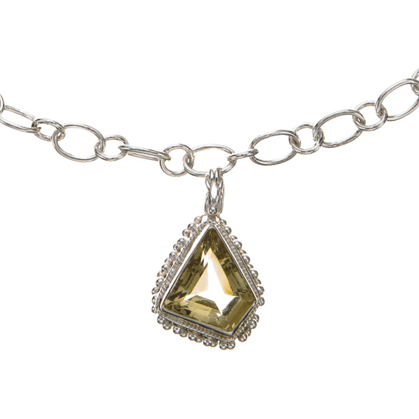 Citrine Pendant Large Link Necklace