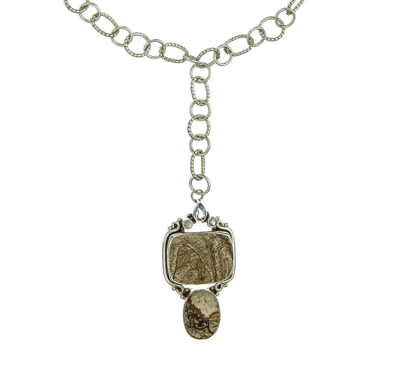 Sterling Silver Chain LInk Necklace with Picture Jasper Drop Pendant