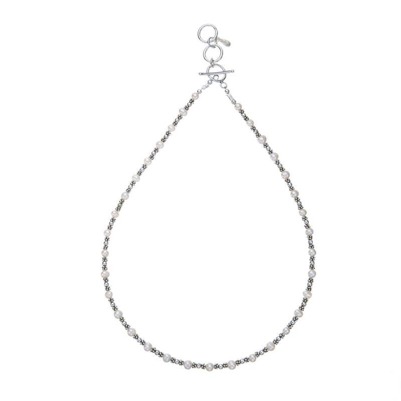 Pearl & Handcrafted Sterling Silver Bead Necklace