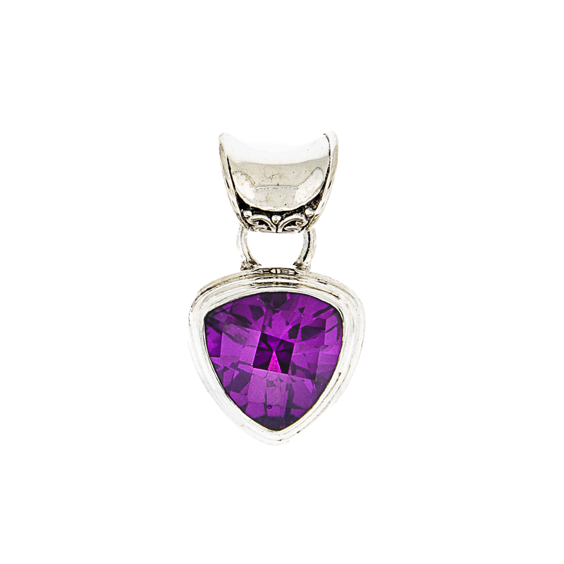 Trillion Amethyst Sterling Silver Pendant