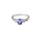 Tanzanite & Diamond Ring in 14K White Gold