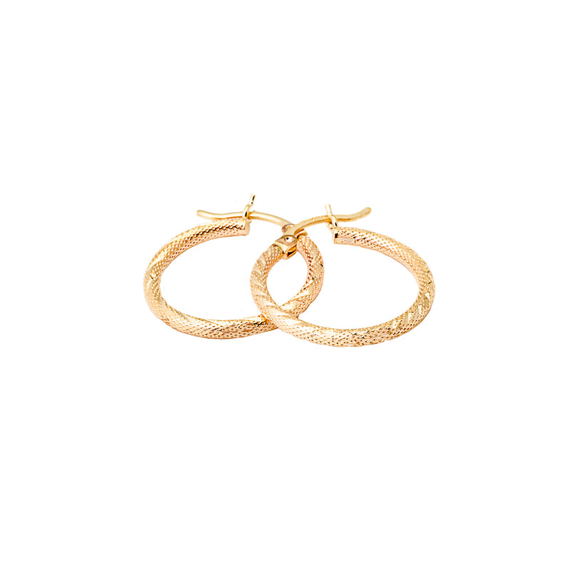 Hinged Hoop Diamond Cut Earrings 14K Yellow Gold
