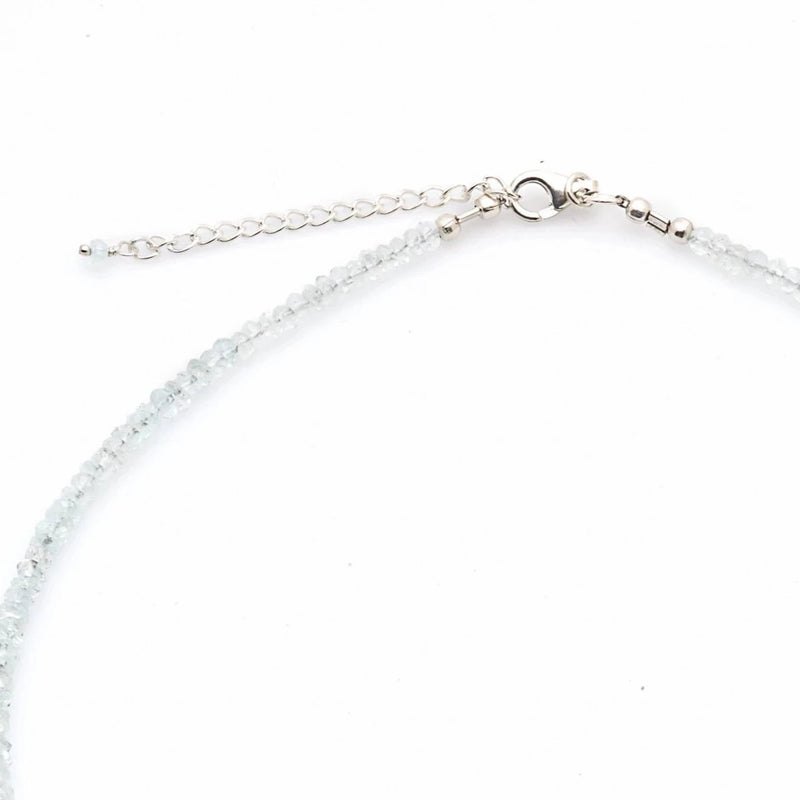 Aquamarine Gemstone Necklace with Sterling Silver Clasp