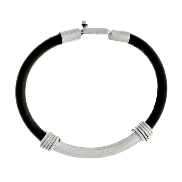 Men's Sterling Silver Leather Bracelet