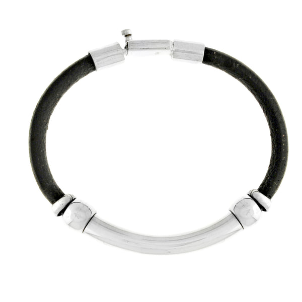 Sterling Silver - Leather Men's Bracelet