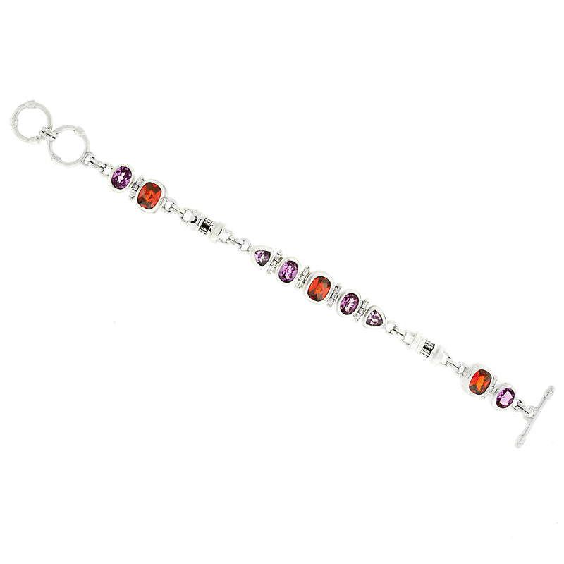 Padparascha -Light and Dark Pink Sapphire Multi-Gem Bracelet In Sterling Silver