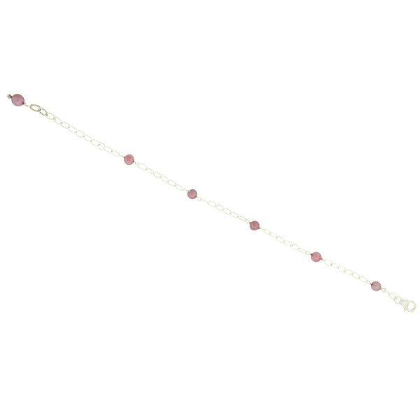 Light Cranberry Pearl Sterling Silver Chain Link Bracelet