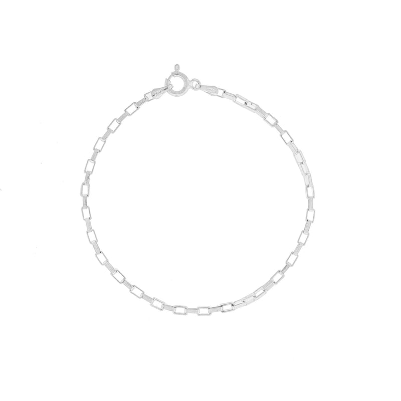 Box Chain Sterling Silver Bracelet