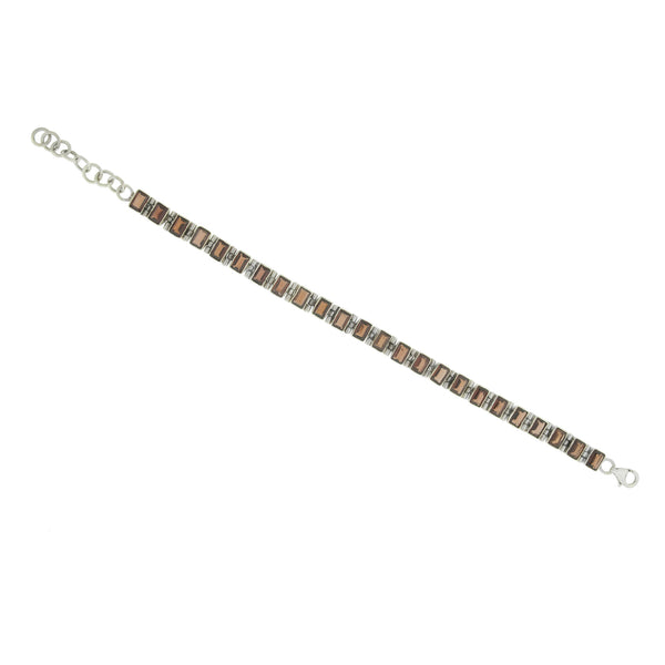 Rectangle Garnet Sterling Silver Link Bracelet