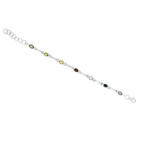 Multi Gemstone Sterling Silver Bracelet